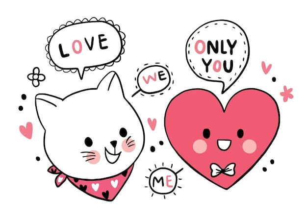 Mano disegnare cartone animato carino san valentino, gatto e grande cuore