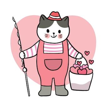 Mano disegnare cartone animato carino san valentino, pesca del gatto