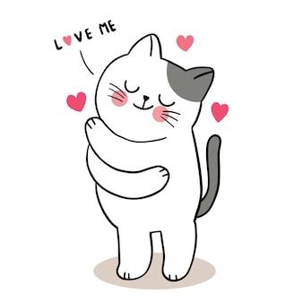 Mano disegnare cartone animato carino san valentino, gatto che abbraccia vettore