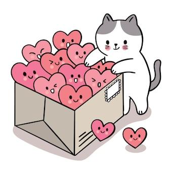 Mano disegnare cartone animato carino san valentino, gatto e molti cuori nella casella