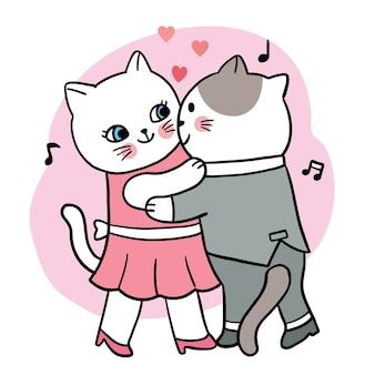 Mano disegnare cartone animato carino san valentino, coppia gatti che ballano