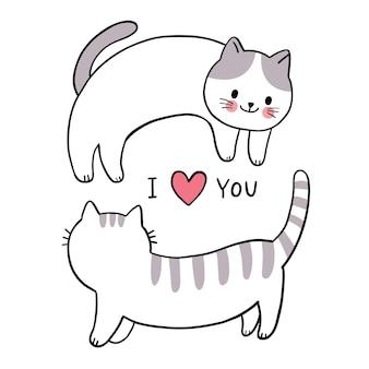 Mano disegnare cartone animato carino san valentino, coppia gatti e cuore