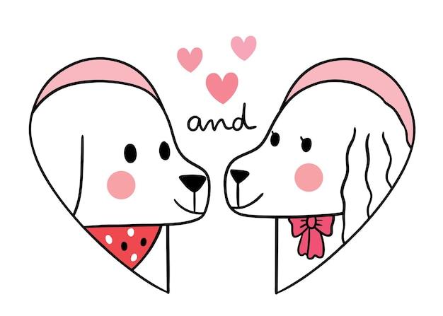 Giorno di san valentino sveglio del fumetto di tiraggio della mano, cane delle coppie nel cuore di forma