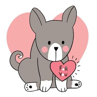 Mano disegnare cartone animato carino san valentino, cane e cuore bavaglino