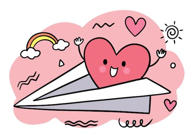 Mano disegnare cartone animato carino san valentino, cuore sul volo di carta sit