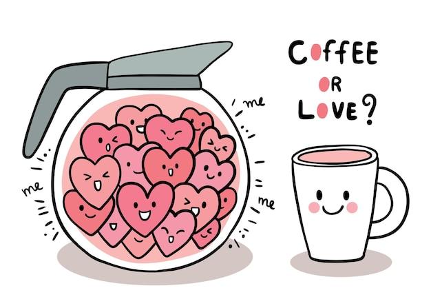 Mano disegnare cartone animato carino san valentino, cuori in pentola e tazza di caffè