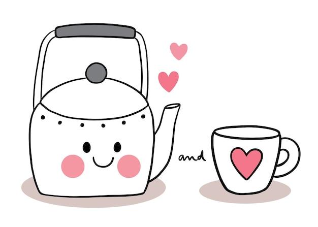 Mano disegnare cartone animato carino san valentino, teiera e tazza di caffè