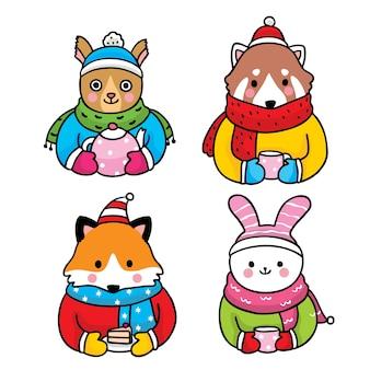 Mano disegnare cartoni animati simpatici animali della fauna selvatica invernale e l'ora del tè.