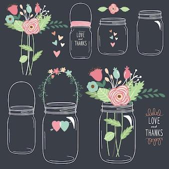 Vaso di fiori lavagna disegnare a mano