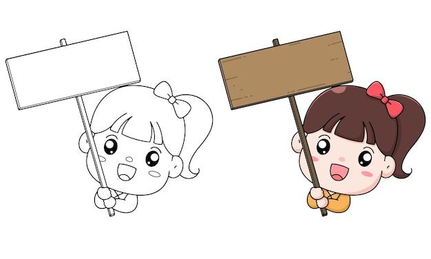 Disegnare a mano illustrazione da colorare per bambini ragazza ed etichetta in legno