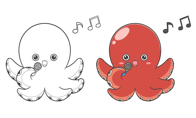 Disegna a mano polpo carino e colora per i bambini