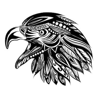 Il disegno a mano dell'arte doodle della testa dell'aquila con il bellissimo ornamento