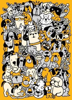 Disegnare a mano, doodle gruppo di cani, diverse specie di cani, per bambini, illustrazione per libro da colorare, ciascuno su un livello separato.
