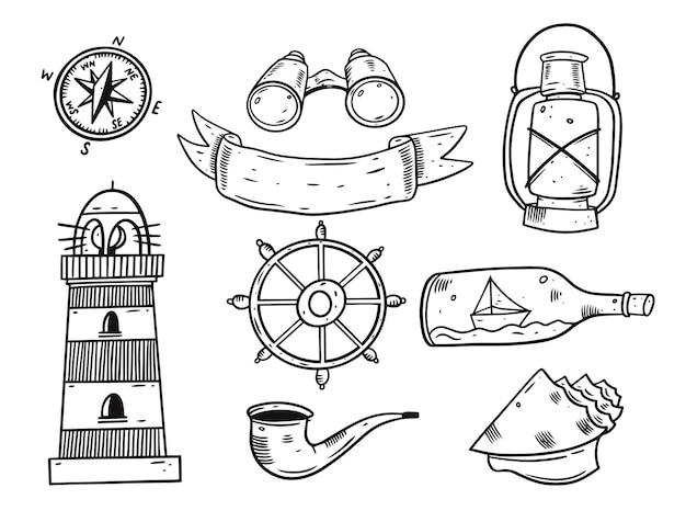 Insieme di elementi del mare di doodle di tiraggio della mano.