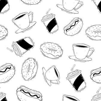 Disegnare a mano il modello senza cuciture di fast food con ciambella soda caffè e hot dog