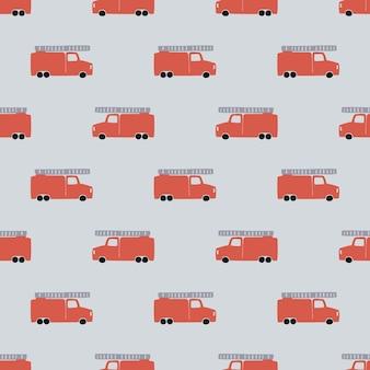Disegnare a mano un modello senza cuciture di camion dei pompieri. vector sfondo da ragazzo in stile scandinavo. rosso fuoco auto carine isolate su sfondo grigio. stampa per t-shirt per bambini, tessuto, imballaggio, copertina