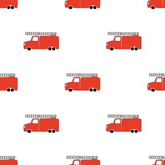 Disegnare a mano un modello senza cuciture di camion dei pompieri. vector sfondo da ragazzo in stile scandinavo. rosso fuoco carino automobili isolate su sfondo bianco. stampa per t-shirt per bambini, tessuto, imballaggio, copertina