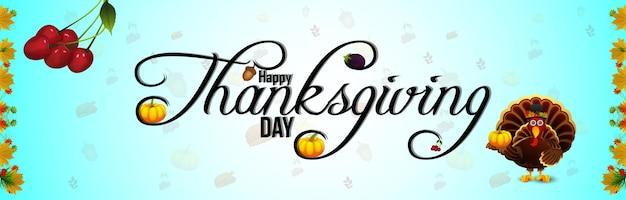 Illustrazione di tiraggio della mano del banner di celebrazione del giorno del ringraziamento felice Vettore Premium