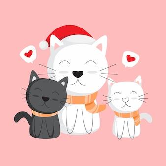 Disegnare a mano i gattini e le loro madri in inverno Vettore Premium