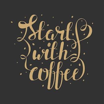 Disegnare a mano lettering con chicchi di caffè e preventivo Vettore Premium
