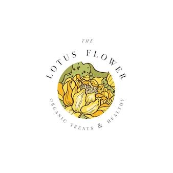 Illustrazione di logo di fiori di loto di tiraggio della mano