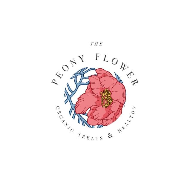 Illustrazione di logo di fiori di peonia a foglia stretta di tiraggio della mano. ghirlanda floreale. emblema floreale botanico con tipografia su sfondo bianco.