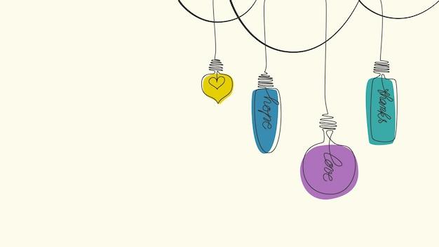 Disegna a mano una lampadina a una linea con un design piatto per la carta da parati con testo