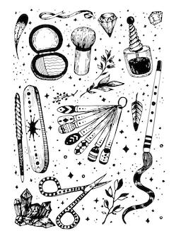 Schizzo di disegno a mano prodotti per il trucco e la manicure set di cosmetici con cristalli magici doodle di linea vettoriale
