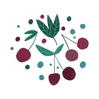 Disegnare a mano le ciliegie. ciliegia di colore rosa isolata su sfondo bianco