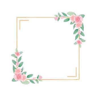 Disegnare a mano cornice floreale ad acquerello con foglie di rosa e verdi