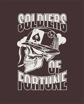 Disegno a mano del soldato americano durante la guerra del vietnam per la stampa su magliette felpe vettore
