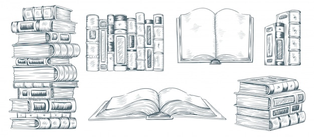 Libri da disegno a mano. schizzo disegnato di letteratura. raccolta dell'illustrazione del libro della biblioteca degli studenti di college o della scuola