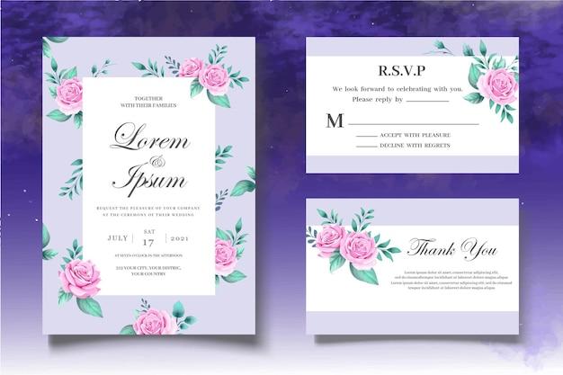 Set di carte di nozze botaniche con disegno a mano