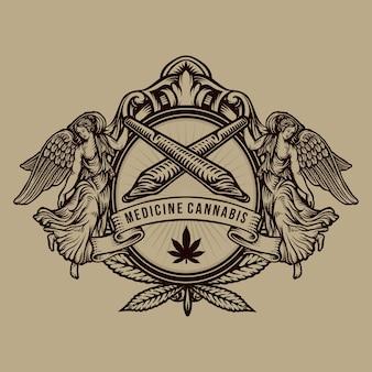 Logo di cannabis disegno a mano