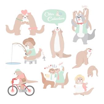 Collezione di lontra personaggio dei cartoni animati di disegno a mano