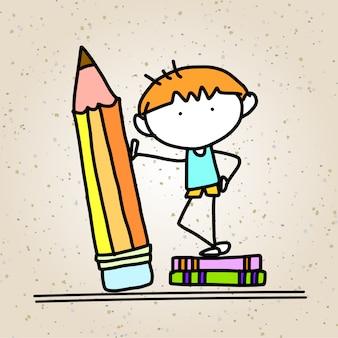 Concetto del fumetto del disegno della mano di nuovo a scuola