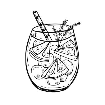 Cocktail di disegno a mano con fetta di limone e rosmarino.