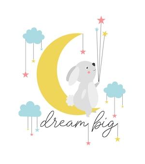 Disegno a mano simpatico coniglietto e illustrazione vettoriale del cielo per il design della maglietta