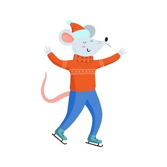 Disegno a mano simpatici topi di natale in abiti accoglienti. illustrazione vettoriale con mouse divertente per il nuovo anno 2020. simbolo del calendario cinese. giochi per le vacanze invernali, pattinaggio sul ghiaccio.