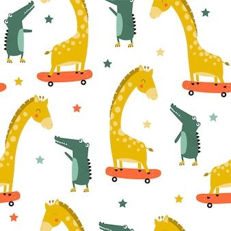 Disegno a mano simpatico coccodrillo e giraffa senza cuciture illustrazione vettoriale per il design della maglietta
