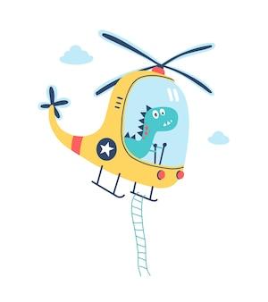 Disegno a mano simpatico dinosauro che pilota un'illustrazione vettoriale di elicottero colorato su sfondo bianco