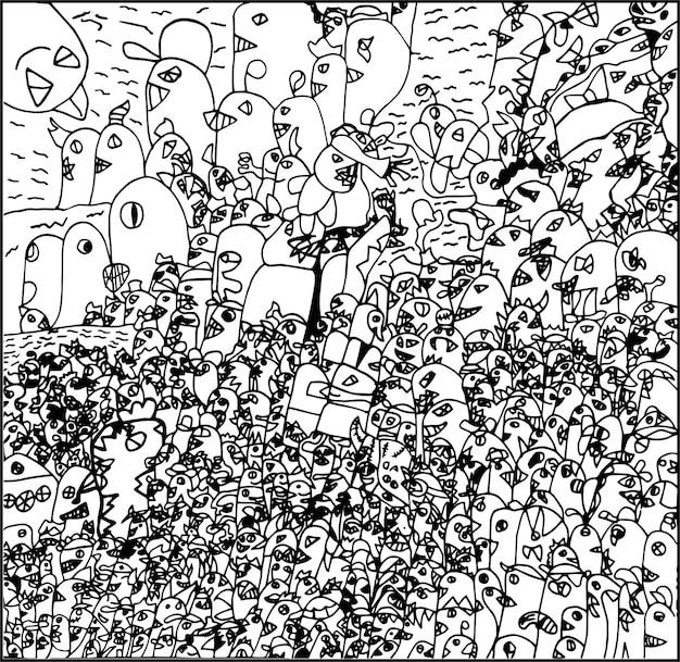 Vettore del fumetto dei mostri di arte di scarabocchio del disegno della mano