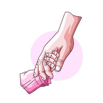 Disegno a mano della mano del padre che si tiene per mano per la festa del papà di suo figlio
