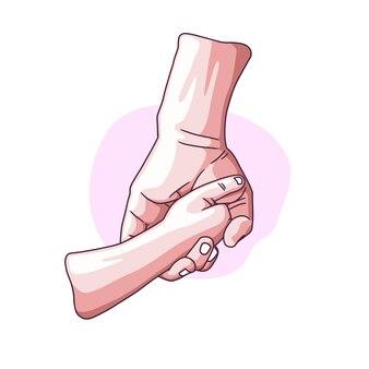Disegno a mano della mano del padre che si tiene per mano