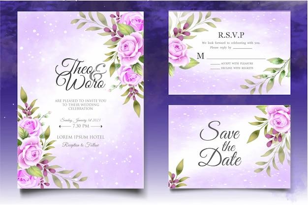 Carta di invito matrimonio floreale disegno a mano