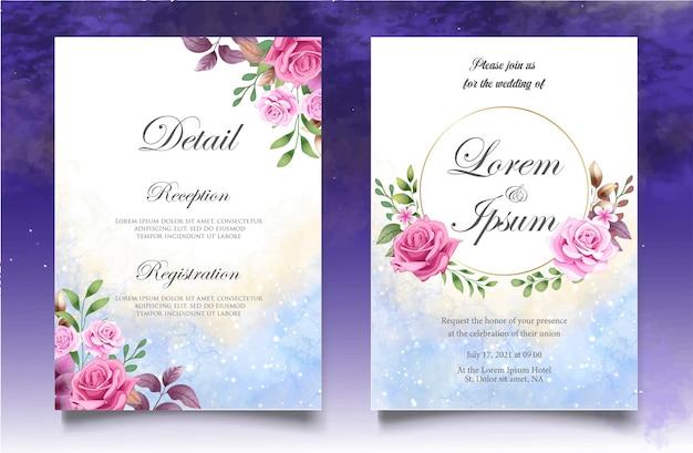 Modello di invito matrimonio floreale disegno a mano con bellissimi fiori