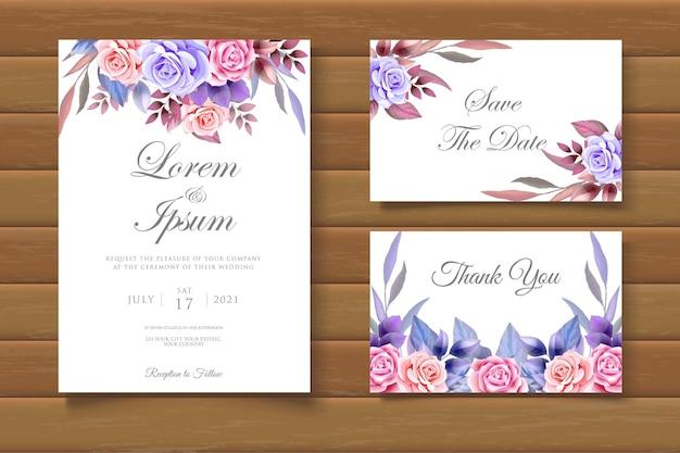Modello di invito a nozze floreale con disegno a mano