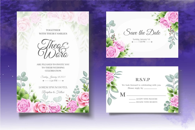 Set di modelli di matrimonio floreale con disegno a mano