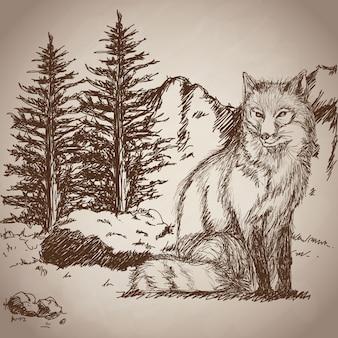 Annata del paesaggio di seduta della volpe del disegno della mano