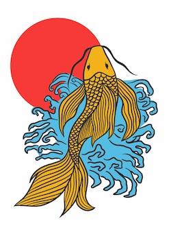 Illustrazione del disegno a mano del pesce koi giapponese vettoriale
